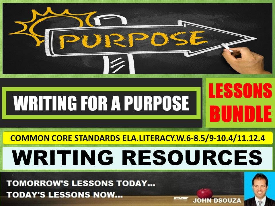 WRITING FOR A PURPOSE LESSONS AND RESOURCES BUNDLE
