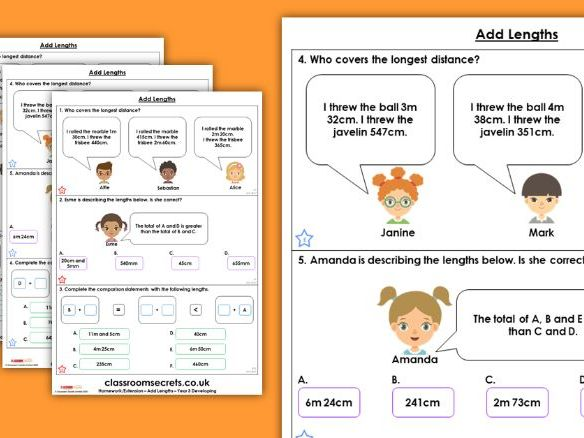 Year 3 Add Lengths Spring Block 4 Maths Homework Extension