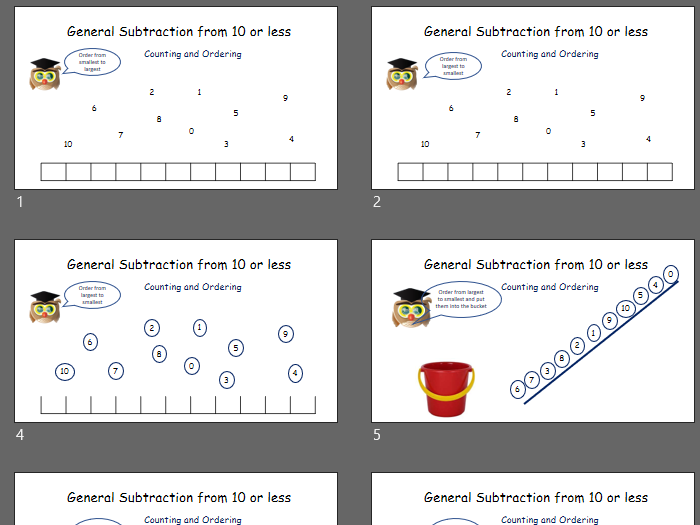 Dyslexia and Dyscalculia Friendly - General Subtraction from 10: Counting and Ordering