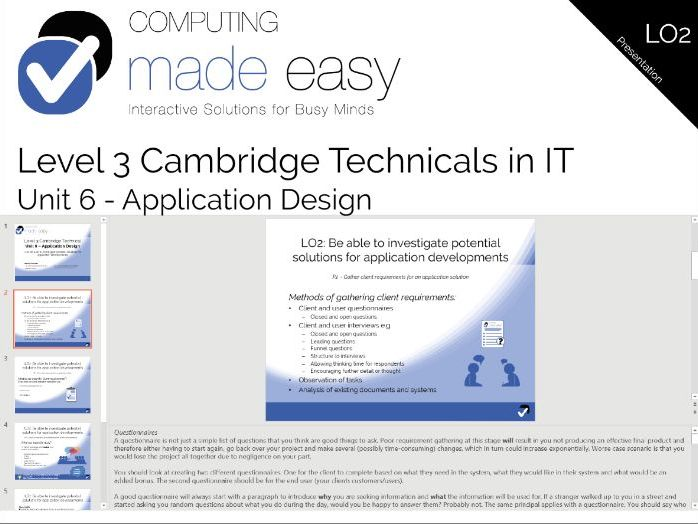 Cambridge Technicals IT Level 3 - Unit 6 LO2 Workbook