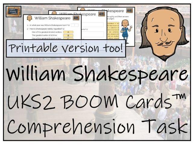 William Shakespeare - UKS2 BOOM Cards™ Comprehension Activity