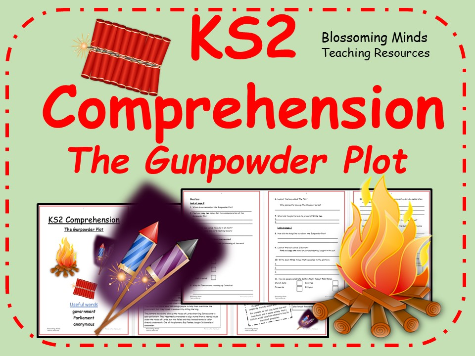 Year 3 and 4 comprehension - The Gunpowder Plot (Guy Fawkes/Bonfire/Fireworks Night)