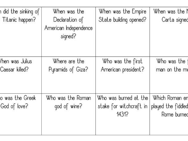 History Bingo Sheets and Questions (Trivia/Game)