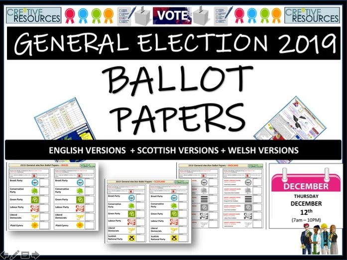 General Election 2019 Ballot Papers by thecre8tiveresources | Teaching Resources