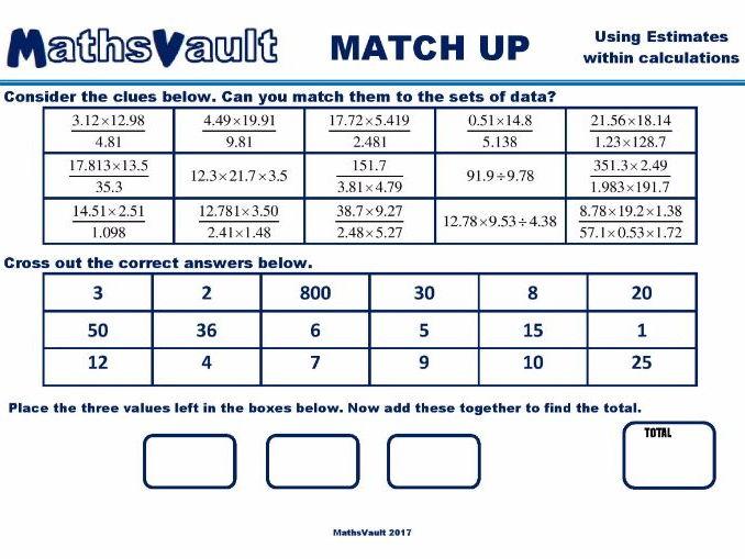 Estimation Calculations Match Up worksheet