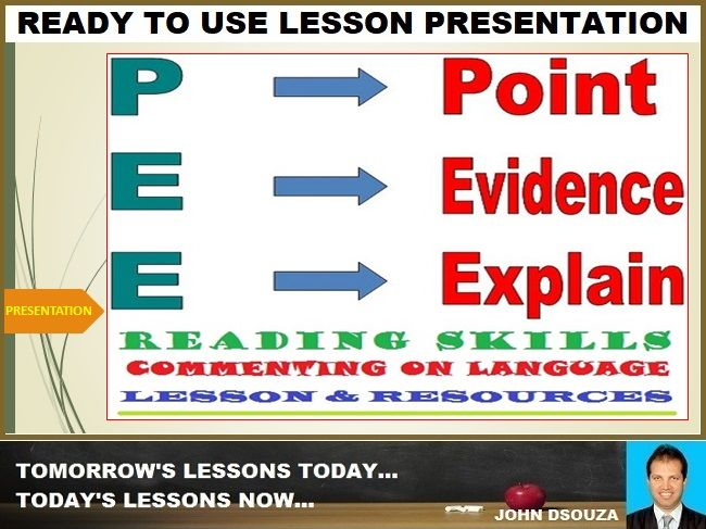 POINT-EVIDENCE-EXPLAIN (PEE) TECHNIQUE FOR TEXT ANALYSIS: PRESENTATION