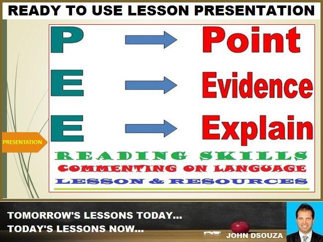 POINT-EVIDENCE-EXPLAIN (PEE) TECHNIQUE FOR TEXT ANALYSIS: PRESENTATION