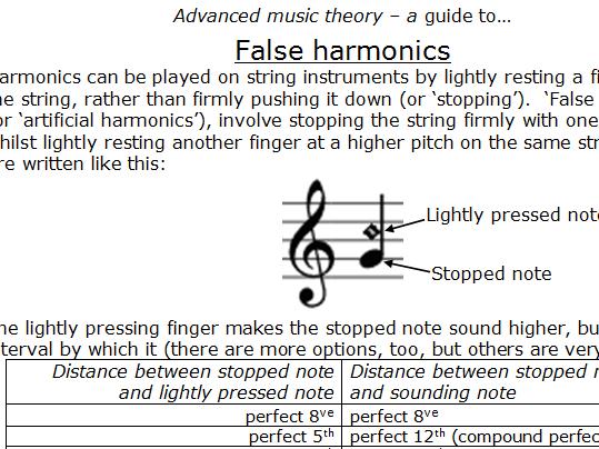 False Harmonics - explanation and exercises