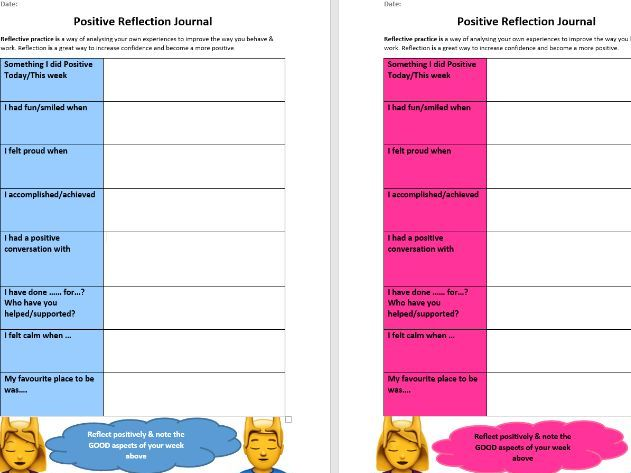 Positive Reflection Journal Worksheets - Social & Emotional Literacy & Well-being - Writing Skills