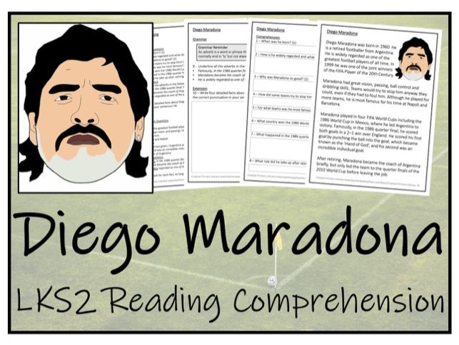 LKS2 Diego Maradona Reading Comprehension Activity