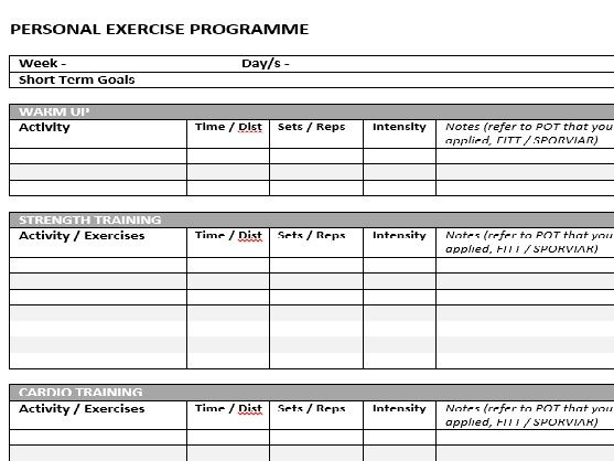 BTEC SPORT UNIT 3 Assignment 1 Support Sheet ( Level 2 2018 Spec)