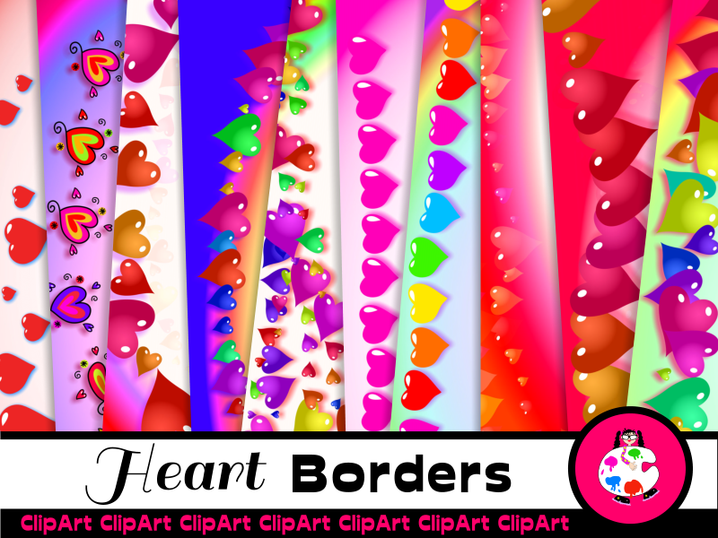 Colorful Love Heart Paper Borders