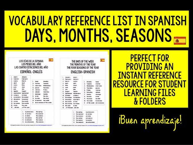 SPANISH VOCABULARY REFERENCE LIST - DAYS, MONTHS, SEASONS