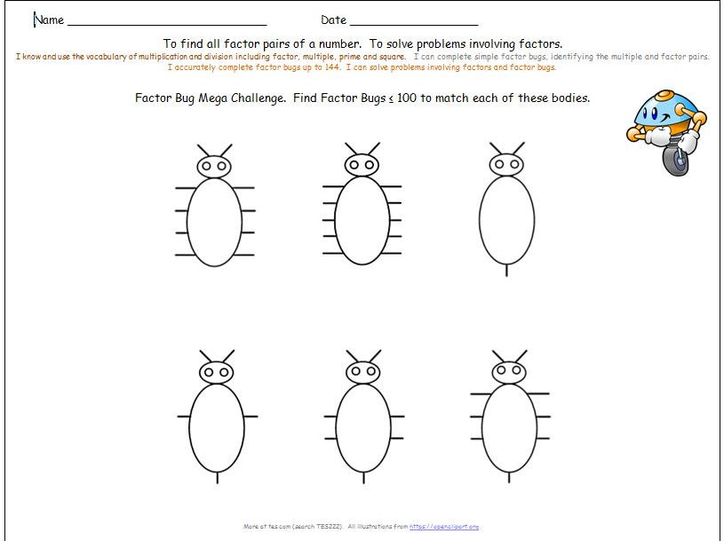 Y5 Y6 Finding Factors and Common Factors Differentiated Worksheets + 144 Factor Bugs.