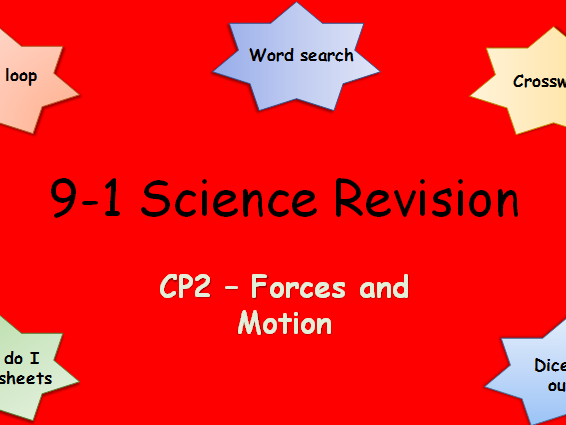 Edexcel CP2 Forces and motion Revision pack Science 9-1