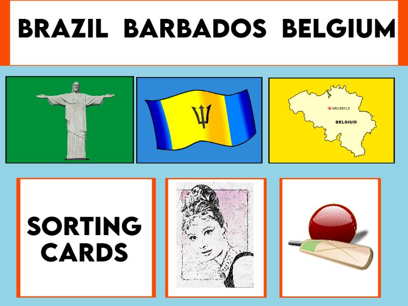 Brazil, Barbados and Belgium Sorting Cards