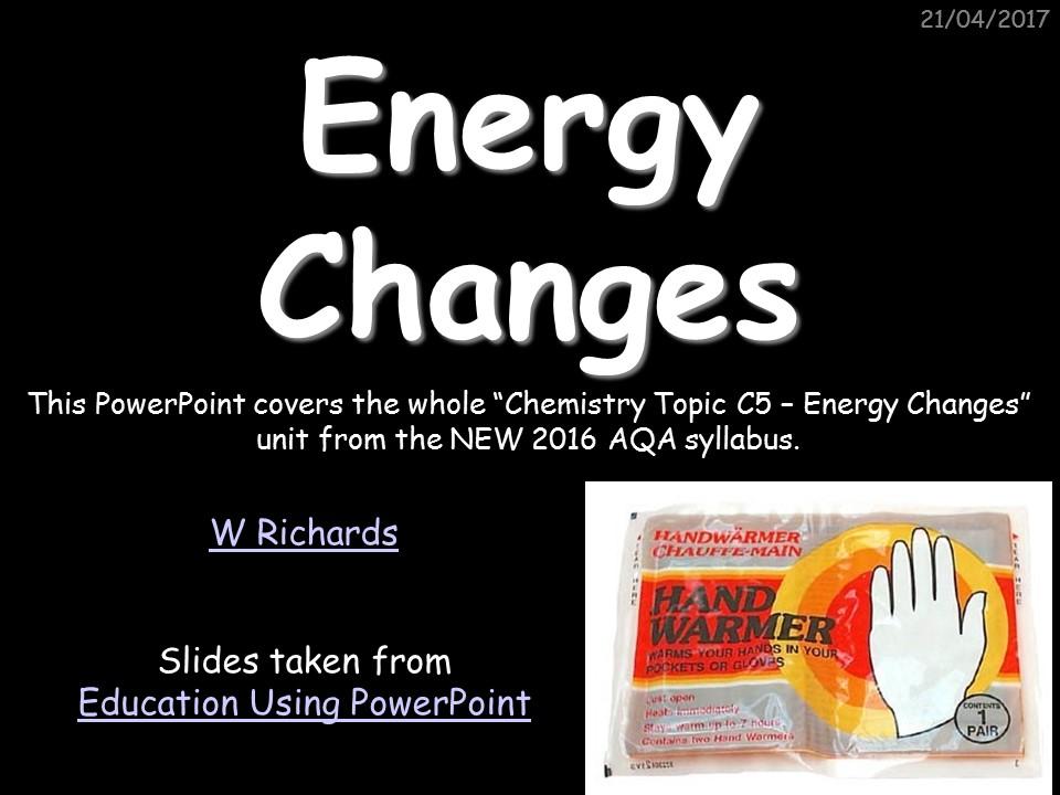 2016 AQA Chemistry topic 5 - Energy Changes