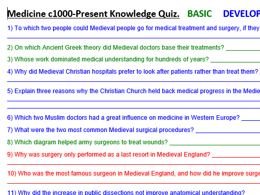 GCSE History 9-1 AQA Health and the People (Medicine) Full Course Knowledge Test (80 Qs)