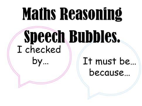Maths Reasoning Speech Bubbles