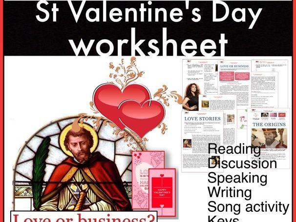 St Valentine's Day. Love stories. Consumerism. Reading. ESL/EFL
