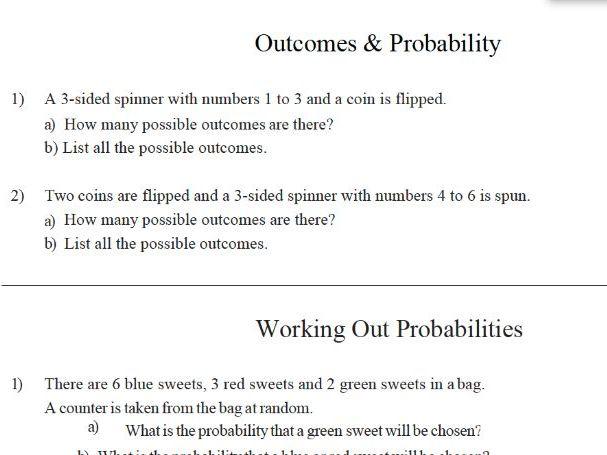 GCSE Maths: Outcome & Probability Worksheet