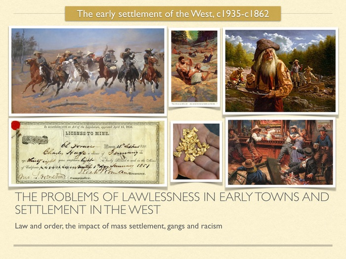 GCSE History of American West in 1800s. The problem of lawlessness in early towns and settlements