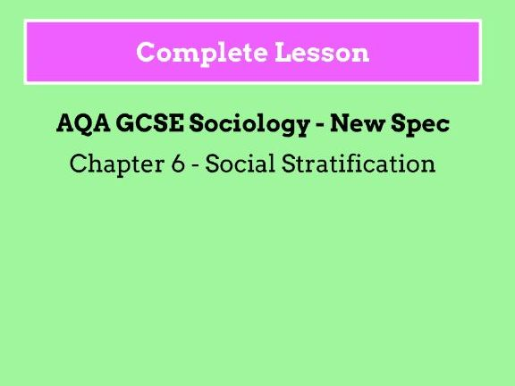 Lesson 17 - Social Stratification and Poverty
