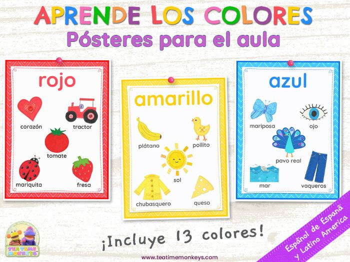 Aprende los Colores  – Colours Posters in Spanish