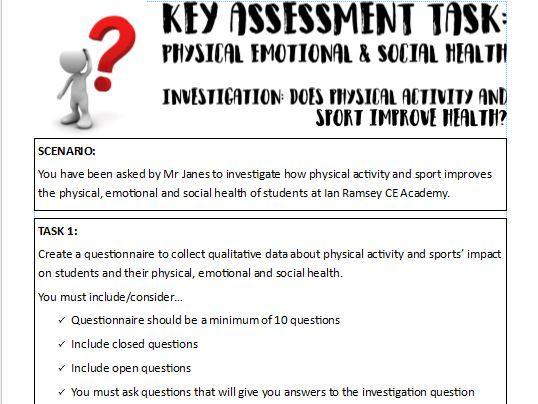 Edexcel (9-1) GCSE PE Key Assessment Task - Physical, emotional and social health