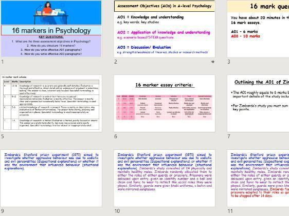 A-level Psychology - Exam technique for 16 mark essays (Zimbardo 16 mark essay example used)