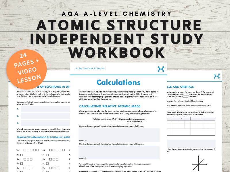 Atomic Structure A-level Chemistry independent study workbook