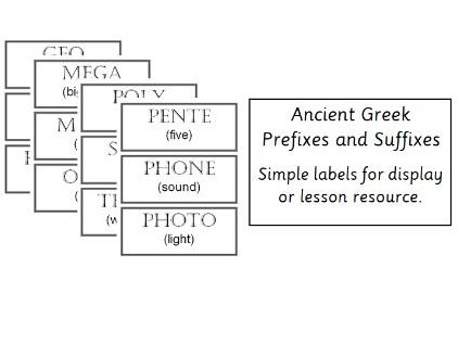 Ancient Greece - Prefixes and Suffixes Labels