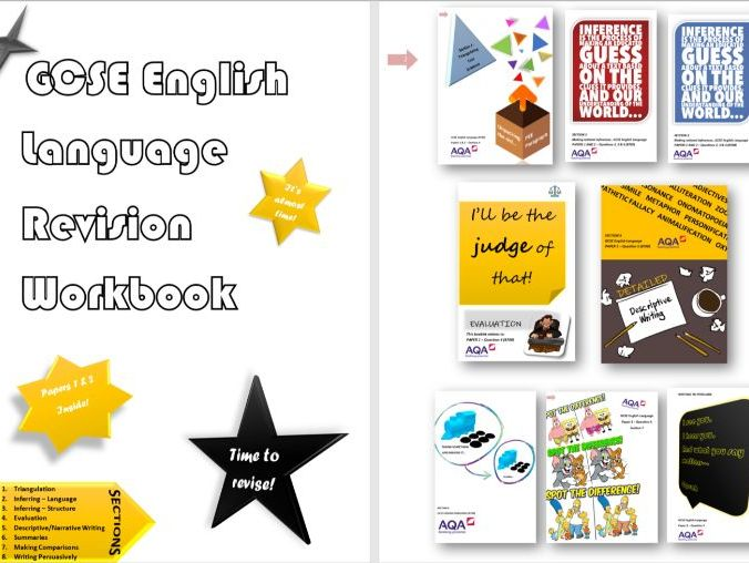 New Spec GCSE English Language - Comlpete 4-6 week Revision Guidance Workbook & PPT Display