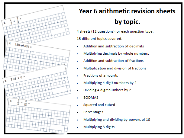Y6 arithmetic revision sheets by topic with answers