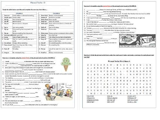 Phrasal Verbs Beginning with D: Worksheet / D- Phrasal Verbs