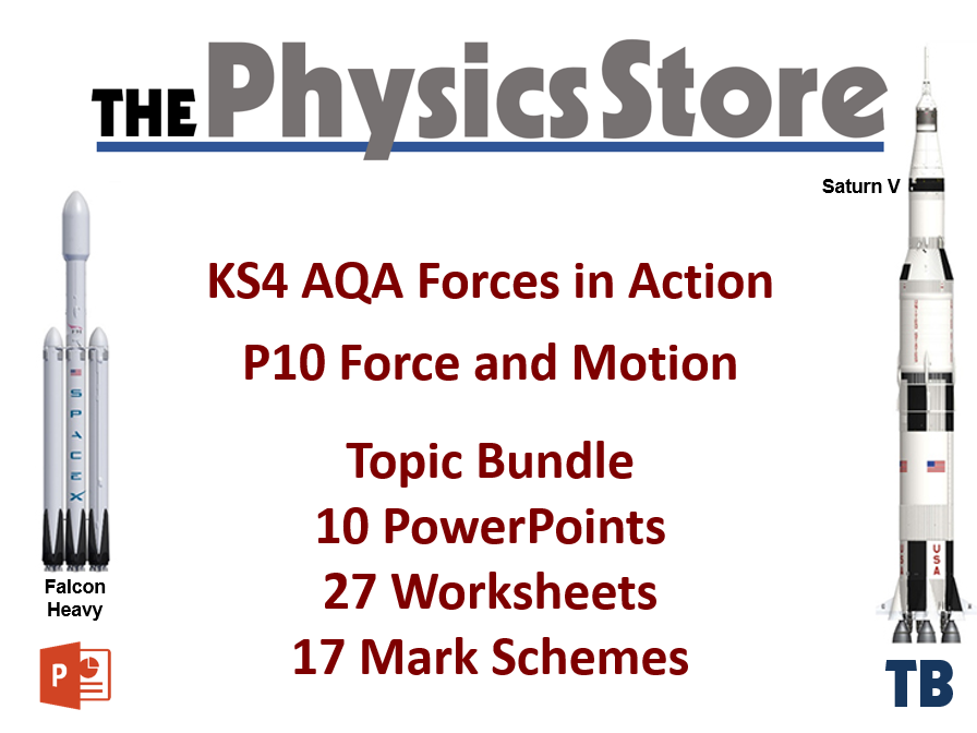 KS4 GCSE Physics AQA P10 Force and Motion Topic - 10 PPTs, 27 WS and 17 MS Bundle