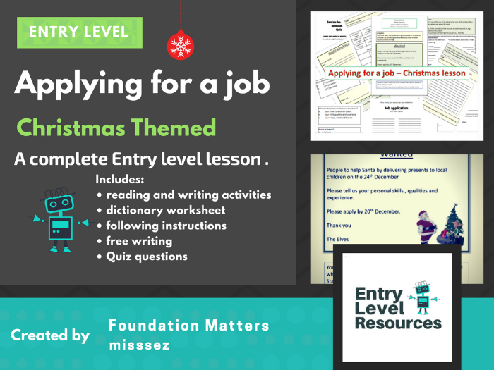 Applying for a job - Christmas lesson