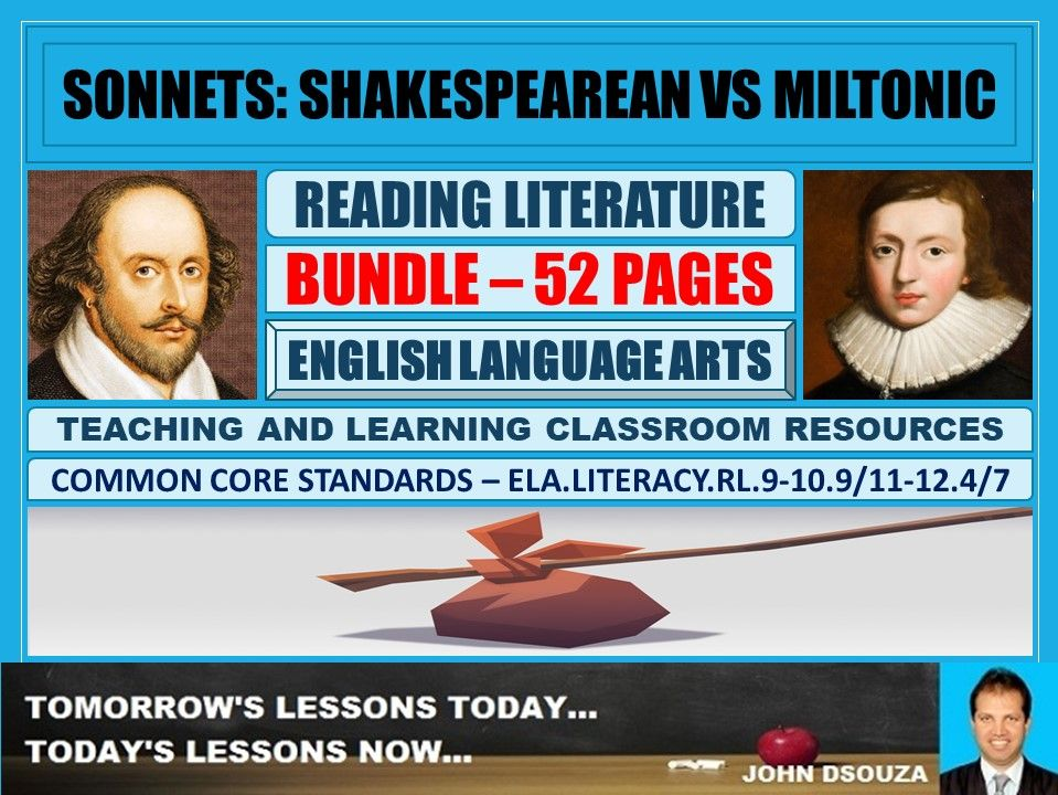 SONNETS : SHAKESPEAREAN VS MILTONIC - CLASSROOM RESOURCES BUNDLE