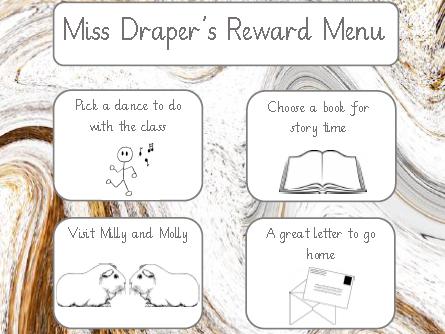 Teacher Reward Menu