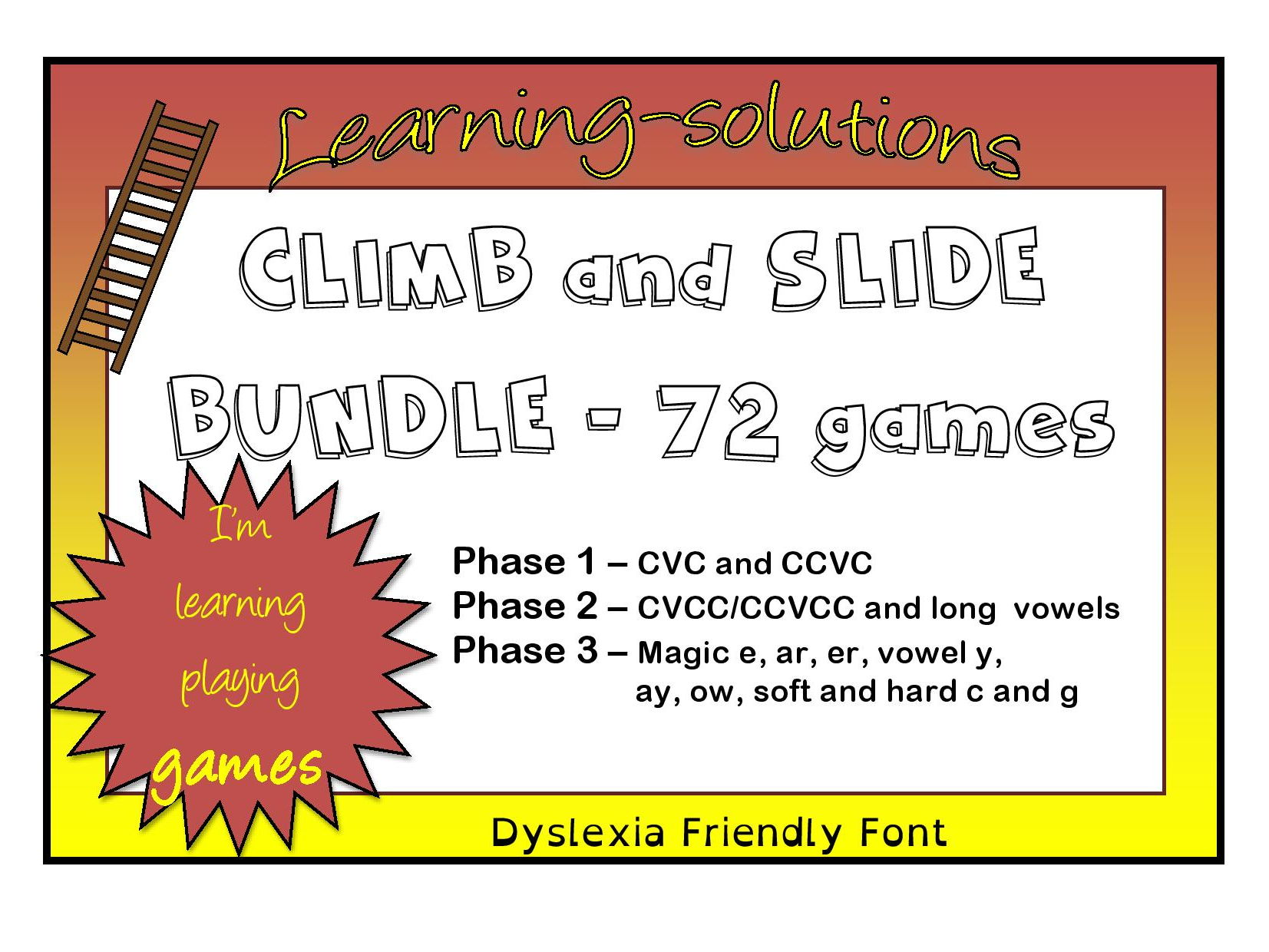 CLIMB AND SLIDE BOARD GAMES - Foundation Phonics - Phases 1 to 3 - 72 games