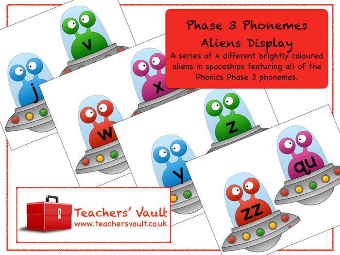 Phase 3 Phonemes Aliens Display