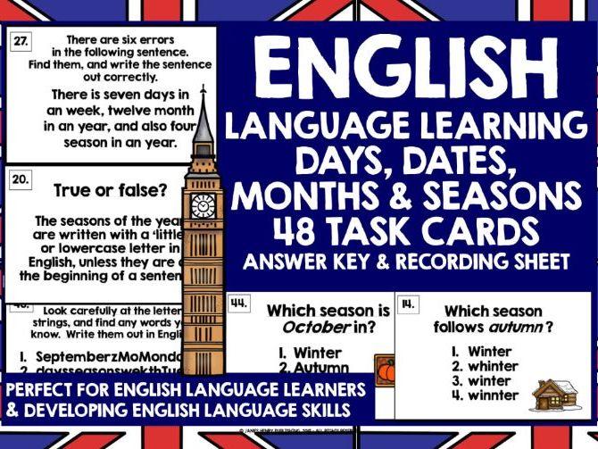 ESL EFL ELL ENGLISH DAYS MONTHS SEASONS DATES TASK CARDS