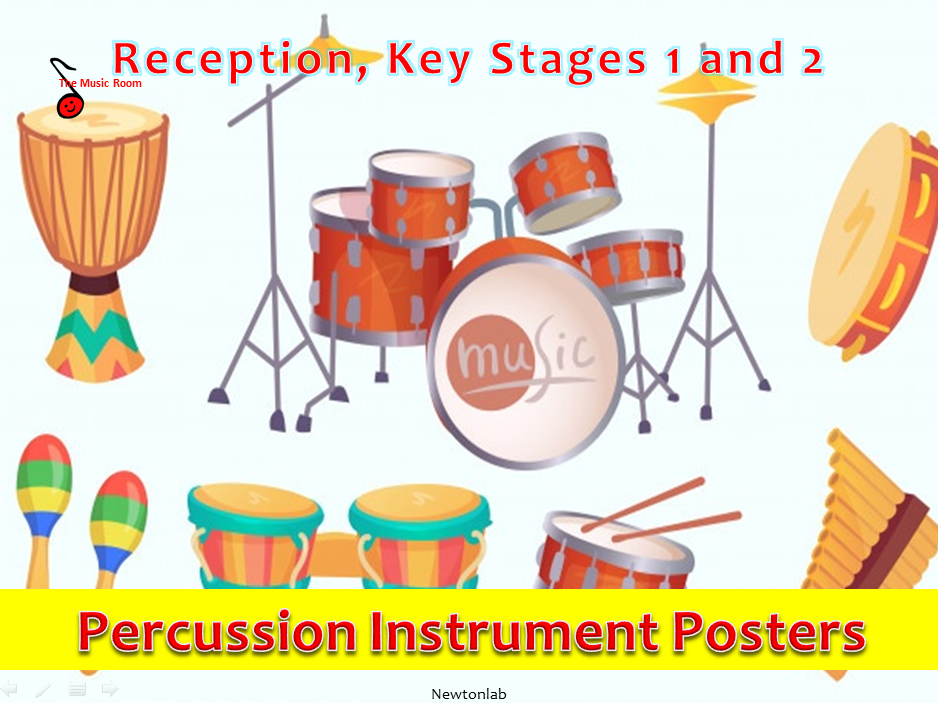 Percussion Instrument Posters and Labels Set - Reception, Key Stages 1 and 2