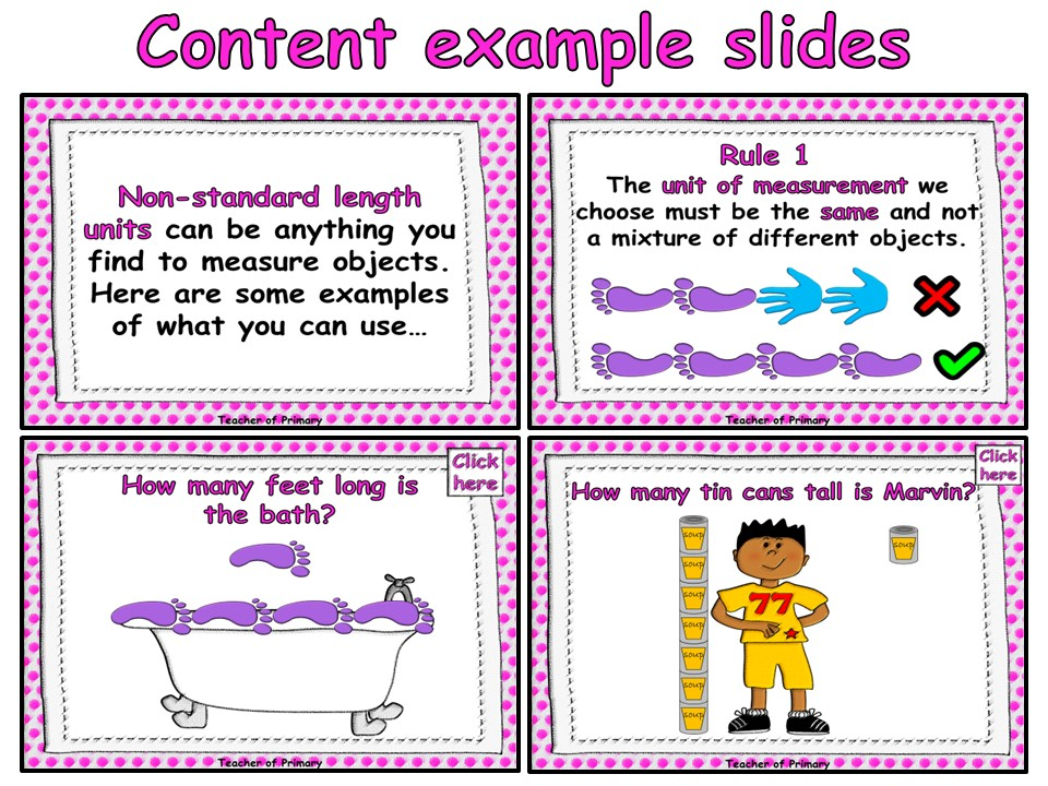 Measuring Length and Height Using Non-Standard Units -  PowerPoint presentation and worksheet
