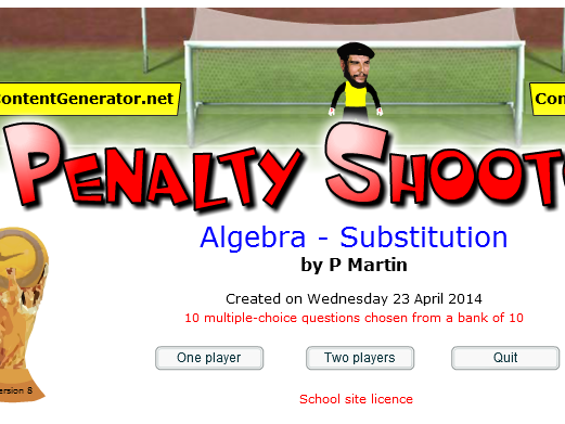 Starter or Plenary Game involving Algebra and Substitution.