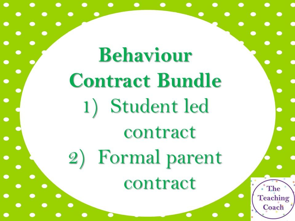 Behaviour Contract Bundle - Head of Year - Pastoral Leader