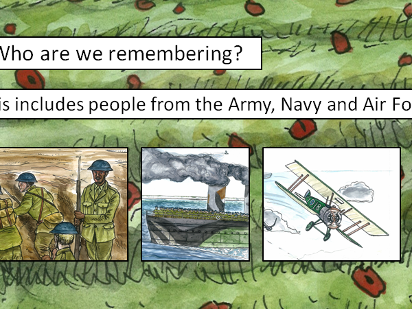 Remembrance Day summary with images from Vlad and the First World War picture book