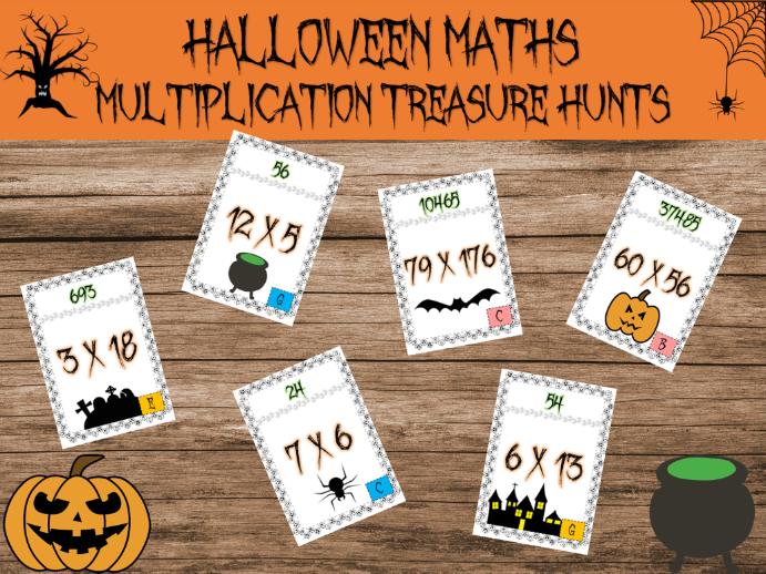 Halloween maths: multiplication treasure hunts
