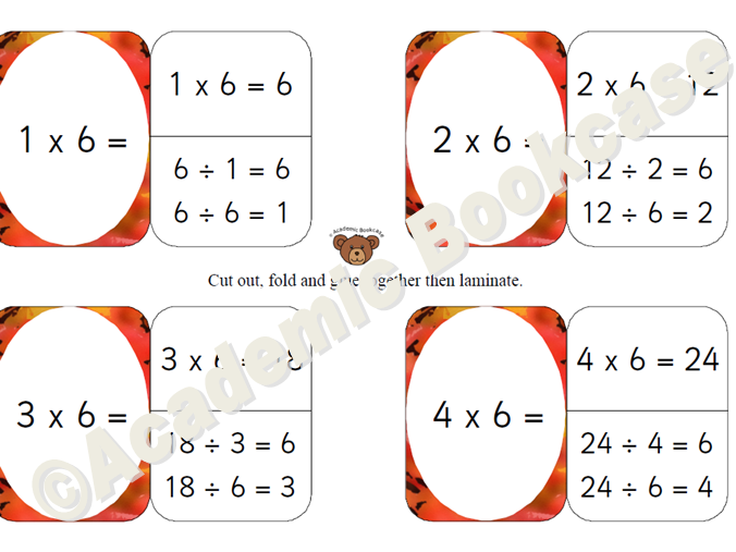 6 times table self check flashcards with inverse on the back