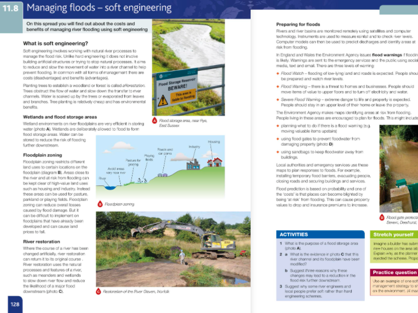 11.8- Managing floods- soft engineering